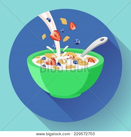 Vector Breakfast Cereal In Bowl Filled With Milk And Berries, Flat Cereal Bowl Icon. Breakfast Icon.
