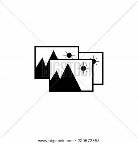 Photo Archive Icon. Vector Illustration. Black On White Background