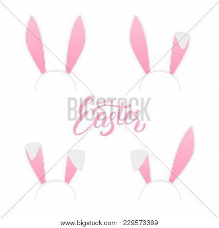 Easter. Bunny Ears Head Masks Set. Easter Holiday Design Elements Set.