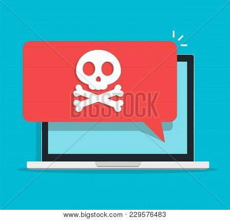 Alert Notification On Laptop Computer Vector, Malware Concept, Spam Data, Fraud Internet Error, Inse