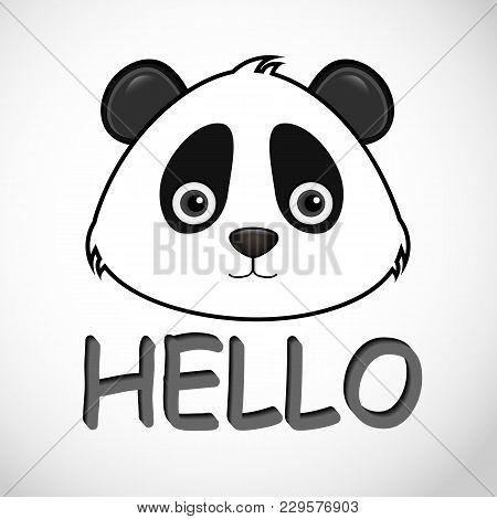Panda Icon, Hello Panda, Bear On The Blackground.