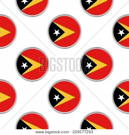 Seamless Pattern From The Circles With Flag Of East Timor. Vector Illustration