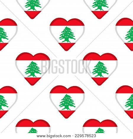 Seamless Pattern From The Hearts With Flag Of Lebanon. Vector Illustration