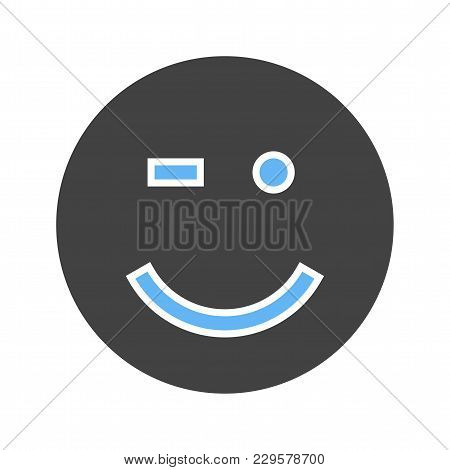 Wink, Man, Winking Icon Vector Image. Can Also Be Used For Emotions And Smileys. Suitable For Mobile