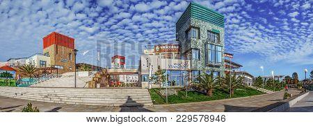 Sochi, Russia - November 3, 2016: Adler. Embankment Of Seagull Beach.