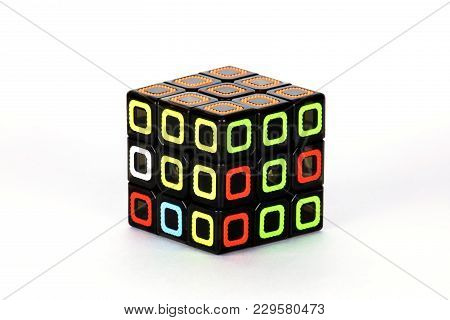The Rubik`s Cube On The White Background. The Solution Sequence Stage Two. The Object Is Isolated On