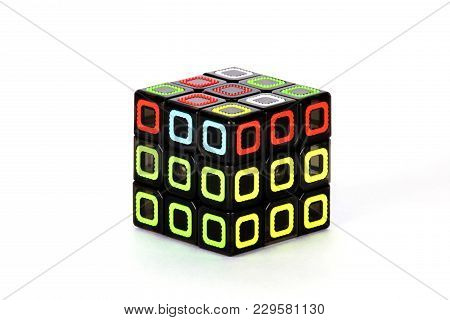 The Rubik`s Cube On The White Background. The Solution Sequence Stage Four. The Object Is Isolated O