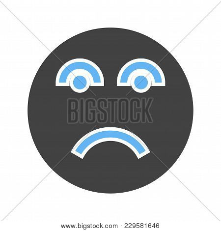 Saddened, Upset, Let Down Icon Vector Image. Can Also Be Used For Emotions And Smileys. Suitable For