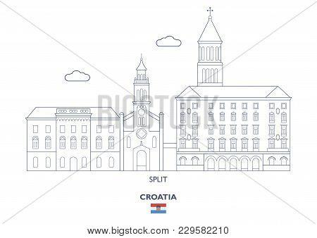 Split Linear City Skyline, Croatia. Famous Places