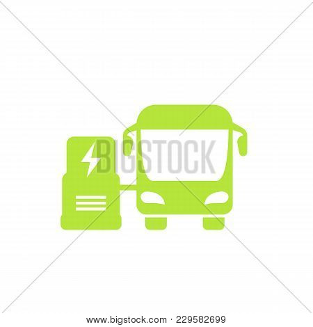 Electric Bus Icon On White, Eps 10 File, Easy To Edit