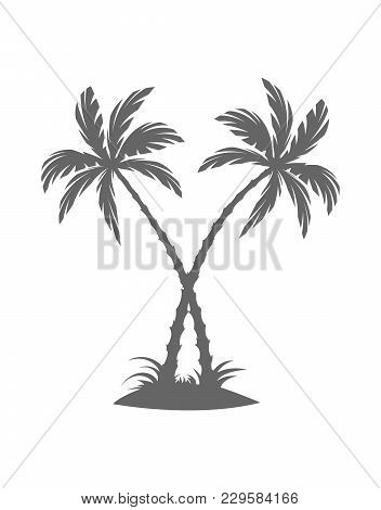 Silhouette Of Palm Trees On The Island. Vector Illustration Isolated White Background. Tropical Palm