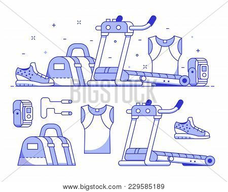 Jogging And Running Icon Set With Sport Run Equipment And Accessories. Treadmill, Bag, Wristwatch An