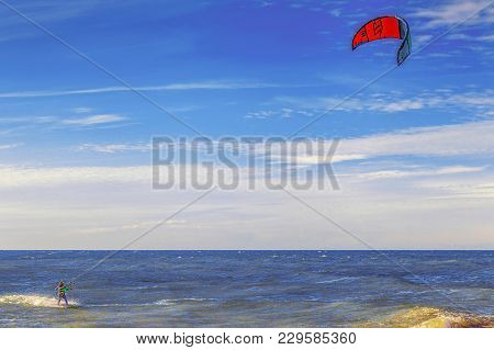 Sochi, Russia - November 3, 2016: Kiting Near The Beach.
