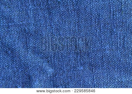 Blue Linen Natural Texture Or Background For Web Site Or Mobile Devices.