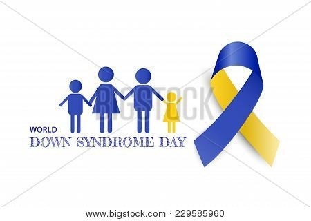 World Down Syndrome Day With Blue Yellow Color Awareness Ribbon Bow  Vector Illustration.