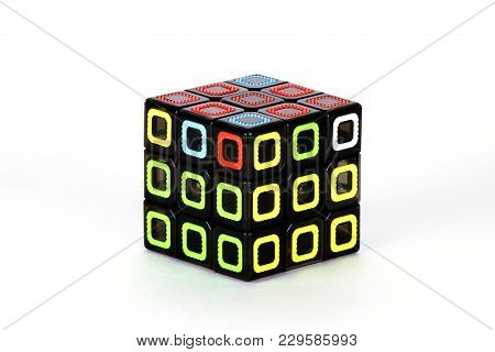 The Rubik`s Cube On The White Background. The Solution Sequence Stage Six. The Object Is Isolated On