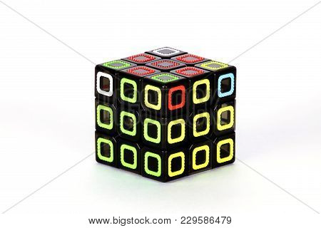 The Rubik`s Cube On The White Background. The Solution Sequence Stage Eight. The Object Is Isolated