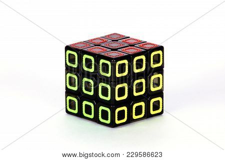 The Rubik`s Cube On The White Background. The Solution Sequence Stage Ten. The Object Is Isolated On