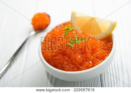 Red Caviar With Slice Lemon