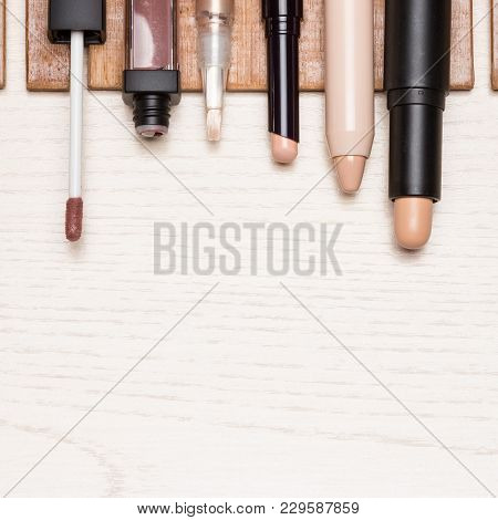 Make-up Concealers Set. Various Correctors To Hide Skin Imperfections. Top View, Copy Space