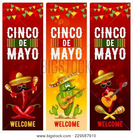 Cinco De Mayo Banners Set With Skull And Cactus In Sombrero, Red Peppers Jalapeno And With Maracas A