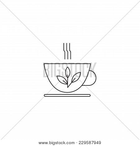 Tea Cup Vector Thin Line Icon. Isolated Symbol. Logo Template For Restaurant Or Tasting Tour, Elemen