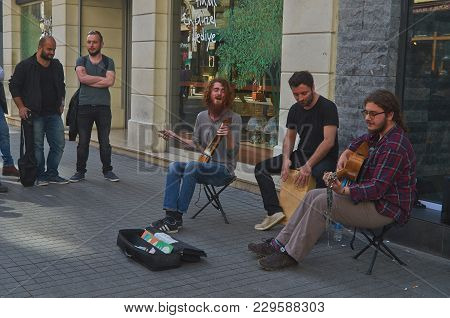 Istanbul, Turkey - April, 07, 2016, A Small Orchestra Of Street Musicians On Istiklal Street  (indep