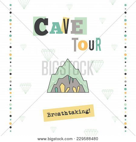 Vector Vertical Banner Template. Cave Tour Announcement. For Travel Agency Products, Tour Brochure,