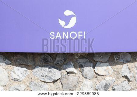 Lyon, France - March 15, 2017: Sanofi Logo On A Wall. Sanofi Is A French Multinational Pharmaceutica