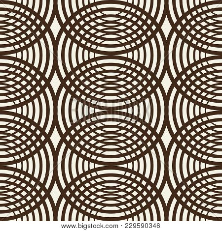 Abstract Monochrome Minimalistic Seamless Pattern With Repeating Intersecting Circles In Kaleidoscop
