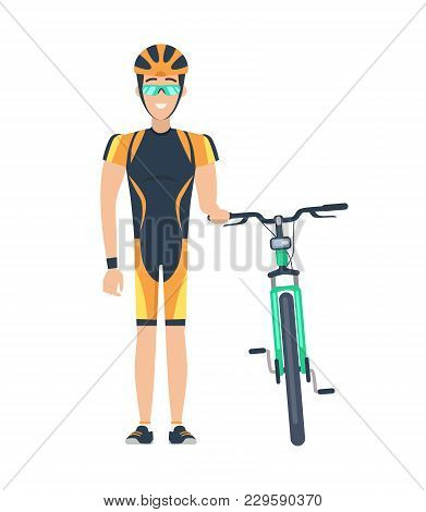 Cyclist Standing By Bicycle, Man With Helmet And Glasses Of Green Color, Sport And Activities, Happi