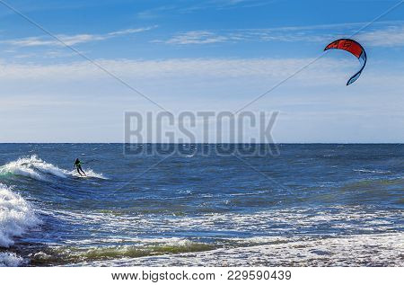 Sochi, Russia - November 3, 2016: Kiting On The Black Sea.
