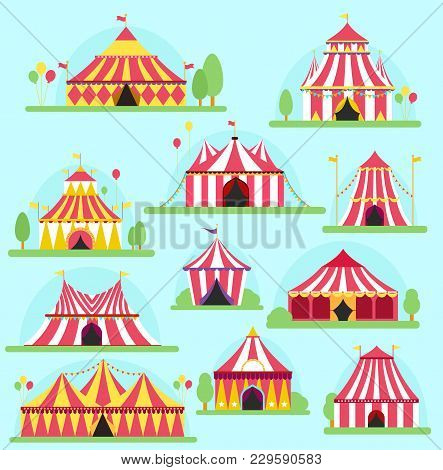 Circus Vector Tent Facade Marquee Marquee Stripes Flags Carnival Entertainment Balloons Lelements Fl