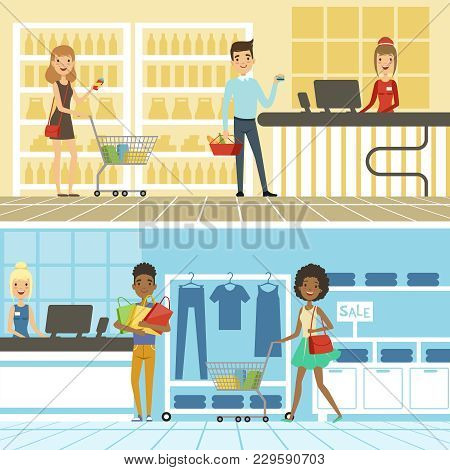 Groups Of Funny And Happy People Make Shopping In Supermarket. Vector Horizontal Banners Shop And St