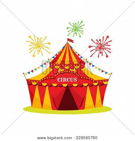 Circus Icon On White Background, Circus Tent