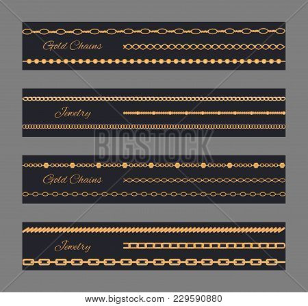Gold Chain Jewelry Poster Vector Illustration With Golden Set Of Beauty Precious Isolated On Dark Ba
