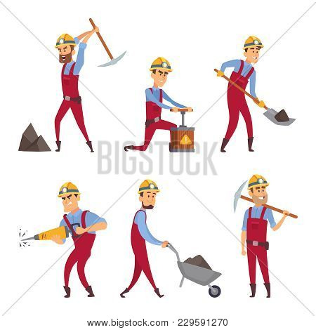 Characters Set Of Miners. Cartoon Characters Miner Worker, People Professional Occupation, Vector Il