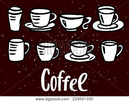 Hand Drawn Decorative Coffee Cups, Vector Illustration