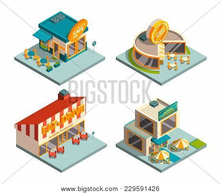 City Cafe Buildings. Isometric Pictures. City Isometric Building Cafe, Architecture Exterior Shop. V