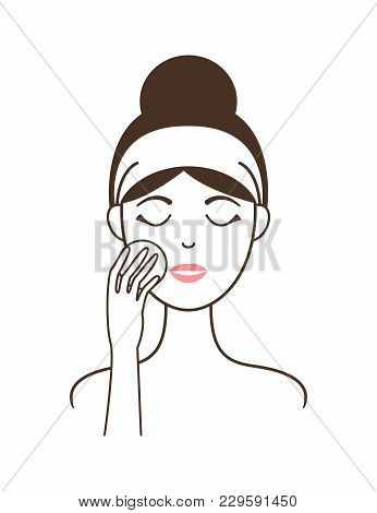 Young Girl In Headband Cleans Her Face Skin With Round Soft Cotton Pad Isolated Minimalistic Cartoon