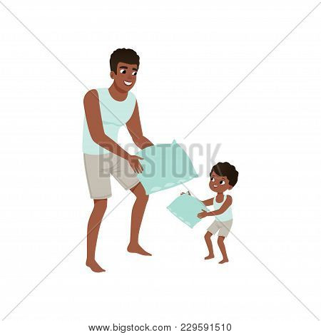 Dad And Son Playing Pillow, Loving Dad And Kid Spending Time Together Vector Illustration Isolated O