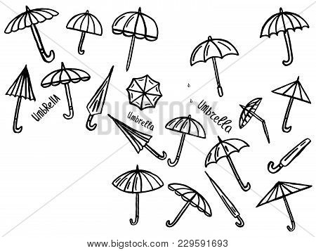 Collection Of Umbrellas Icons, Vector Illustration With Umbrellas