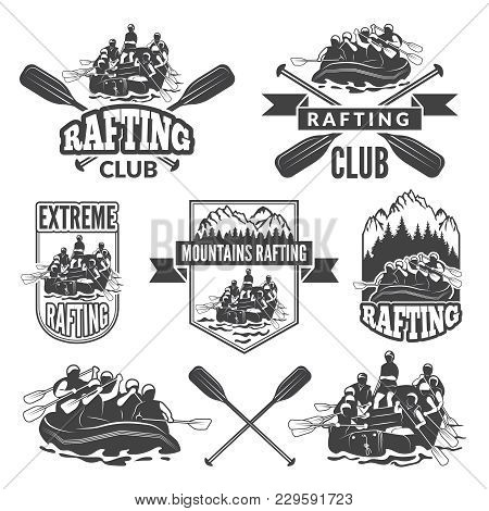 Labels For Sport Club Of Extreme Dangerous Water Sport. Vector Pictures Of Rafting Sport Water, Cano