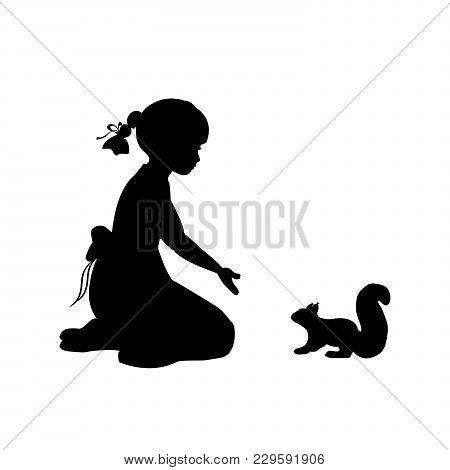 Silhouette Girl Sitting Knees Beckon Squirrel. Vector Illustration