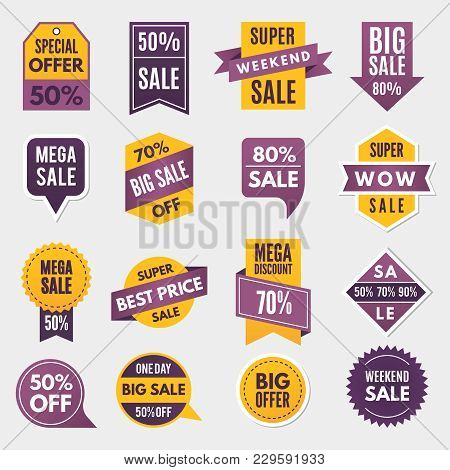 Labels And Tags With Advertizing Info For Promotion And Big Sales. Promotion Sale Label, Sticker Pri