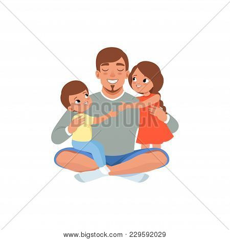Happy Father With His Two Children , Loving Dad And Kid Spending Time Together Vector Illustration I