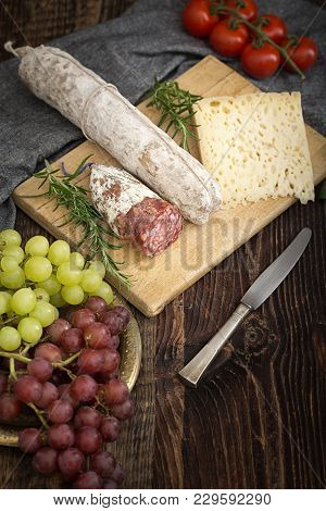 High Quality Cheese With Salame.
