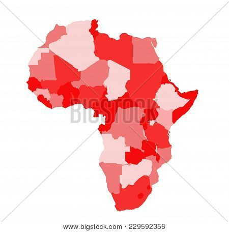 Colored Africa Map Illustration On White Background