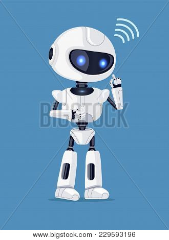 Robot In Process Of Thinking And Connection Sign, Robotic Creature Of White Color With Icon, Vector