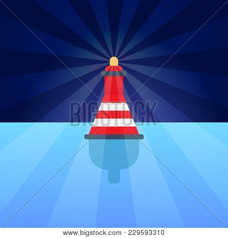 Single Buoy On Bright Blue Water, Colorful Poster, Vector Illustration With Red Lifesaver With White